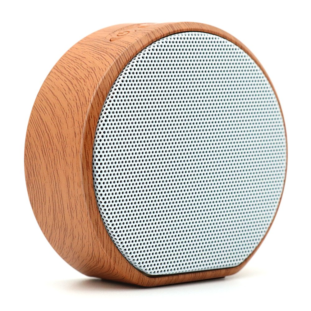 Portable Mini Wood grain Bluetooth Speaker with Handsfree Call,3.5mm AUX ,TF crad slot , Enhanced Bass and Built-in Mic and for Home Outdoor Travel Compatible with iPhone iPad Android Samsung Tablet and More (White) TaoZe