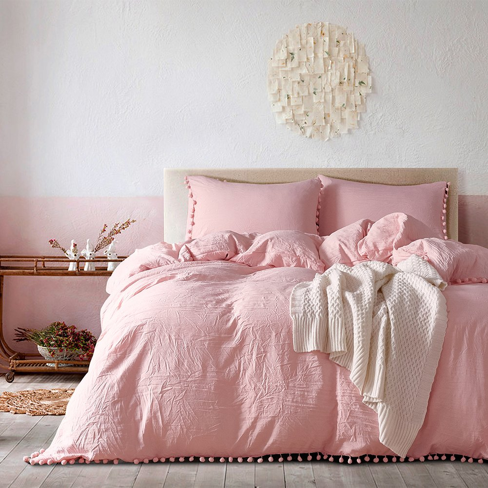AiMay Pom Poms 3 Piece Duvet Cover Set (1 Duvet Cover + 2 Pillowcases) Stone-Washed Brushed Luxury 100% Super Soft Microfiber Bedding Collection (Coral/Pink, Queen)