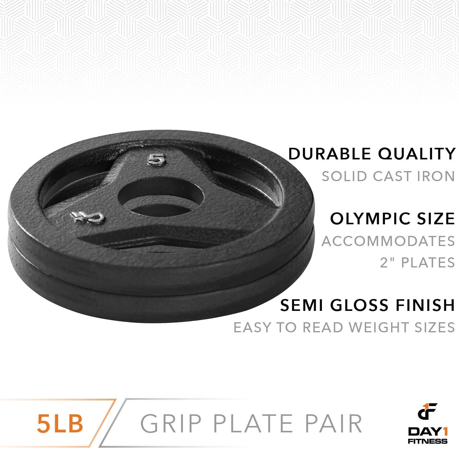 "Day 1 Fitness Cast Iron Olympic 2-Inch Grip Plate for Barbell, 5 Pound Set of 2 Plates Iron Grip Plates for Weightlifting, Crossfit - 2"" Weight Plate for Bodybuilding by Day 1 Fitness (Image #3)"