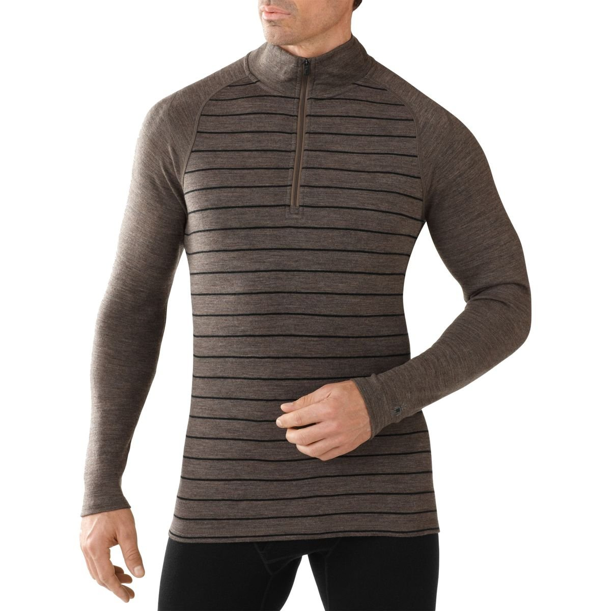 SmartWool Men's Merino 250 Baselayer Pattern 1/4 Zip (Taupe Heather/Black- Past Season) X-Large