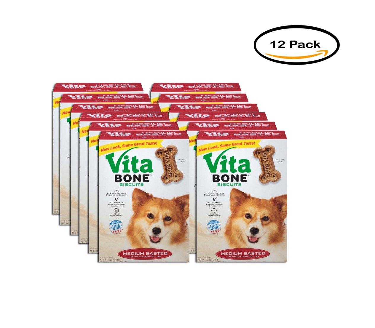 PACK OF 12 - Vita Bone Medium Basted Dog Biscuits 24 oz. Box