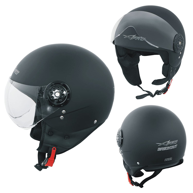 Open Face Jet Helmet Lid Motorbike Scooter Quad Long Visor Matt Black M