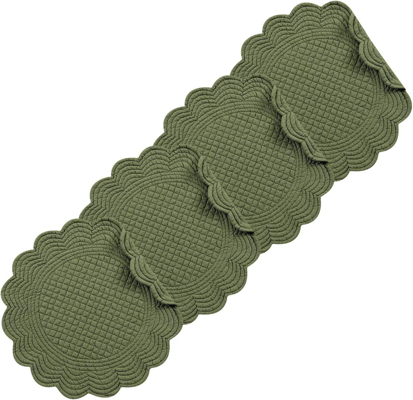 C&F Home Pine Round Cotton Reversible Machine Washable Placemat Set of 4 Round Placemat Pine Green