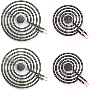 """MP22YA Electric Range Burner Element Unit Set, 2 pcs MP15YA 6"""" and 2 pcs MP21YA 8"""""""
