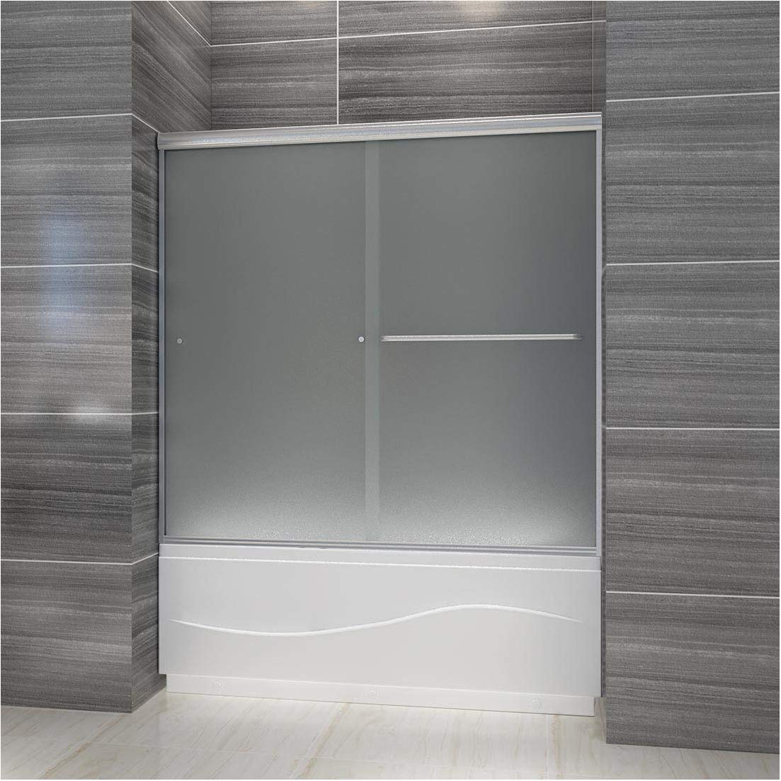 ELEGANT 58.5 in. – 60 in. W x 57 3 8 in. H Bypass Sliding Bathtub Door, 1 4 in. Frosted Shower Glass Panel Tub Glass Door, Brushed Nickel Finish