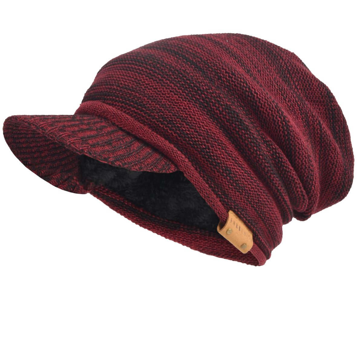 VECRY Men's Oversize Slouch Beanie Slouchy Skullcap Large Baggy Hat F-N010Black-1