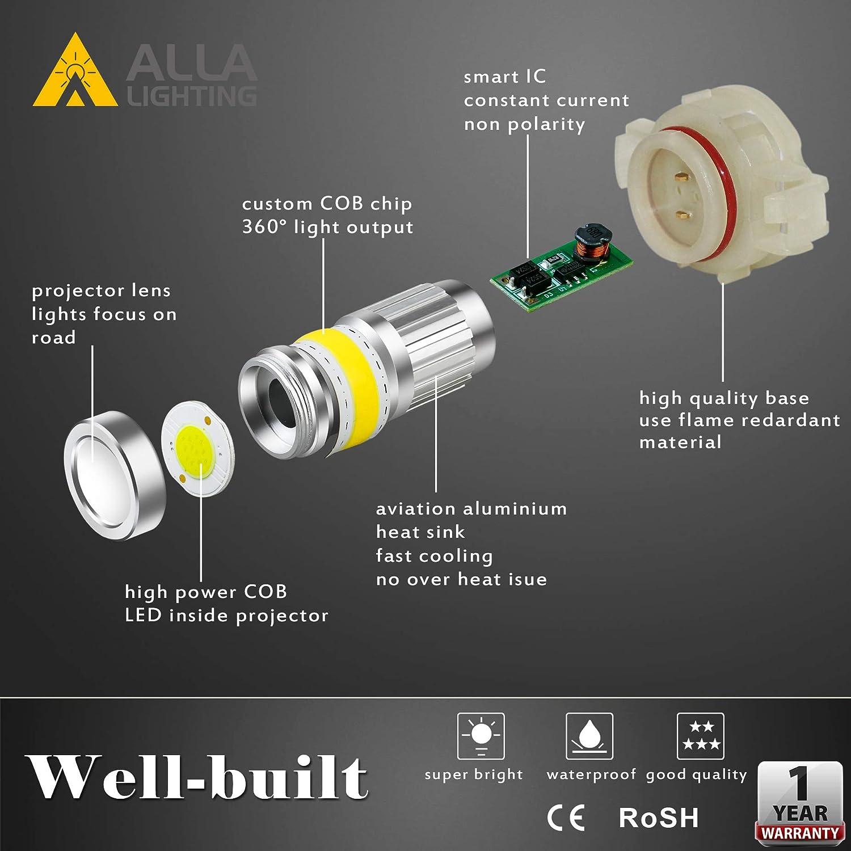 Alla Lighting 9145 LED Fog Light Bulb 2800lm Xtreme Super Bright H10 9145 LED Bulbs 9145 Fog Light High Illumination COB-72 LED 9145 Bulb 9140 9045 9145 H10 LED Fog Lights 6000K Xenon White