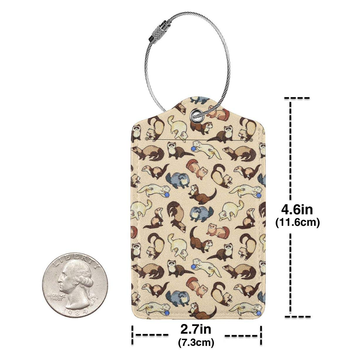 Adorable Ferret Pattern Leather Luggage Tags Personalized Address Card With Privacy Flap