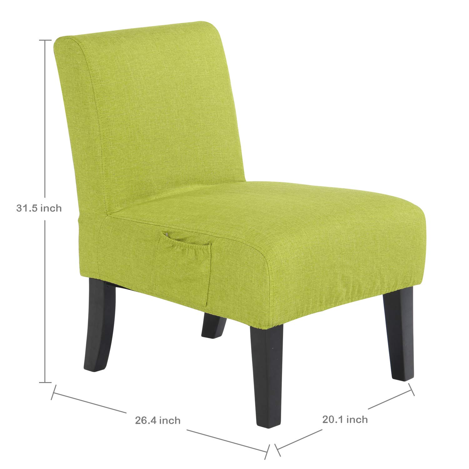 Altrobene fabric armless contemporary accent chair slipper side chair for living room bedroom with solid wood legs removable washable slipcover lime