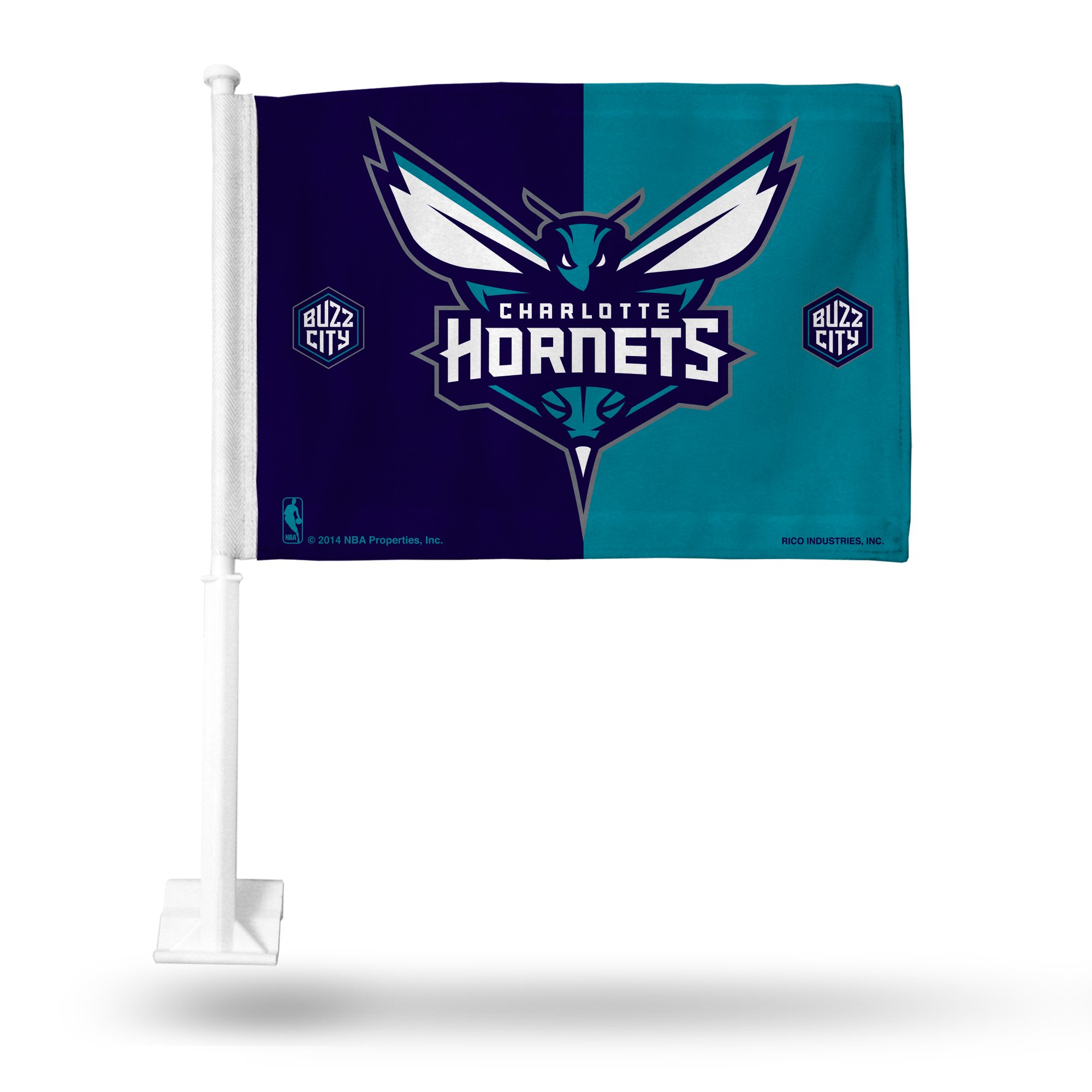Rico NBA Charlotte Hornets Car Flag, Teal, with White Pole