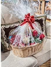 woodluv Create Your Own - Wicker Gift Hamper Oval Basket Kit, Christening, Wedding, Baby Shower or Birthday Gift - Natural
