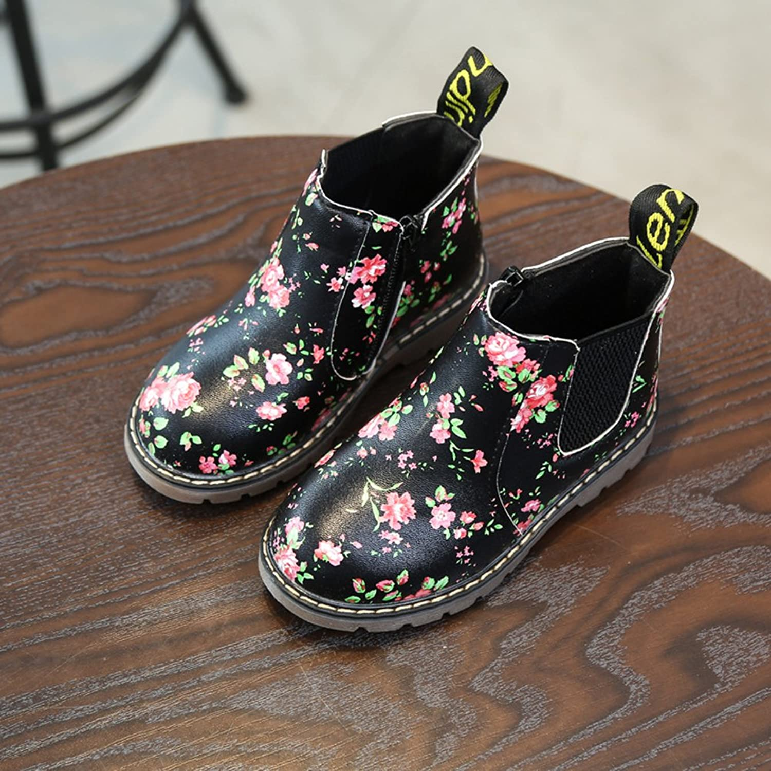 Juleya Girls Chelsea Boots - Princess Leather Shoes Kids Boots Winter Shoes  Soft Retro Casual Shoes With Floral Print Ankle Boots Non-Slip Shoes Black  Gray: ...