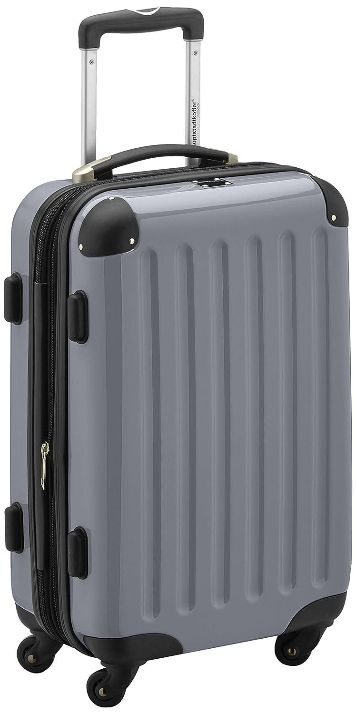 HAUPTSTADTKOFFER - Alex - Handgepäck Hartschalen-Koffer Trolley Rollkoffer Reisekoffer Erweiterbar, 4 Rollen, 55 cm, 42 Liter, Silber