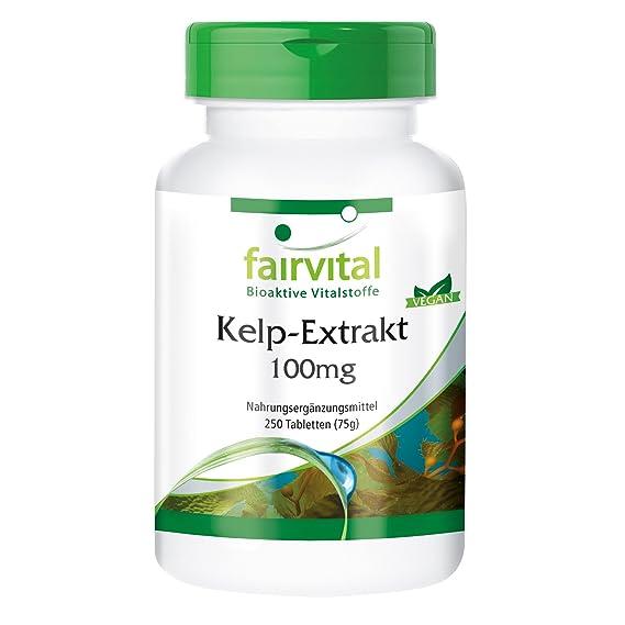 Kelp Extracto de 100 mg con yodo 150mcg - GRANEL durante 8 meses - VEGANO - 250 comprimidos - yodo natural: Amazon.es: Salud y cuidado personal