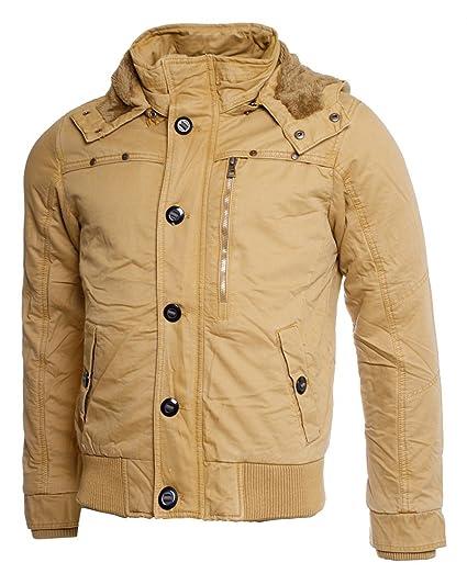 Young & Rich Herren Winter Jacke mit abnehmbarer Kapuze slimfit gefüttert  Vintage Look JK-415, Grösse:S;Farbe:Camel: Amazon.de: Bekleidung