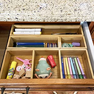 Bamboo Junk Drawer Organizer and Storage Box Dividers Set, Compartment Organization Tray Holder for Craft,Sewing,Office,Bathroom.Kitchen
