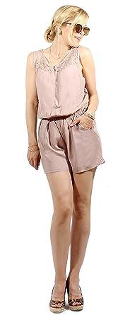 e93ccb942cbfc3 Damen Kurz-Overall Jumpsuit Einteiler Shorty Spitzen Optik taupe Gr. M/L