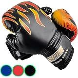 Kinder Boxhandschuhe mit Klettschluss Klein Box-Handschuhe für Kinder von 3 - 12 Jahre Training Gloves 5 Unzen zum MMA, Muay Thai, Kickboxen und Sandsack sport - rot / schwarz / blau