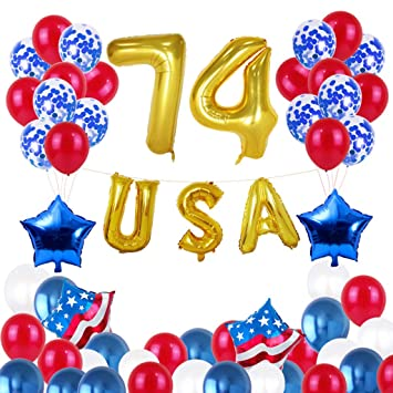 77ddacb18 WWFFOO American Independence Day July 4th Aluminum Film Balloon Set Flag  Patriotic 50pcs 12-inch