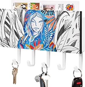 Art Hashtags Key Holder Wall Mount Mail Letter and Hook Hanger for Entryway Kitchen Bathroom Home Decor