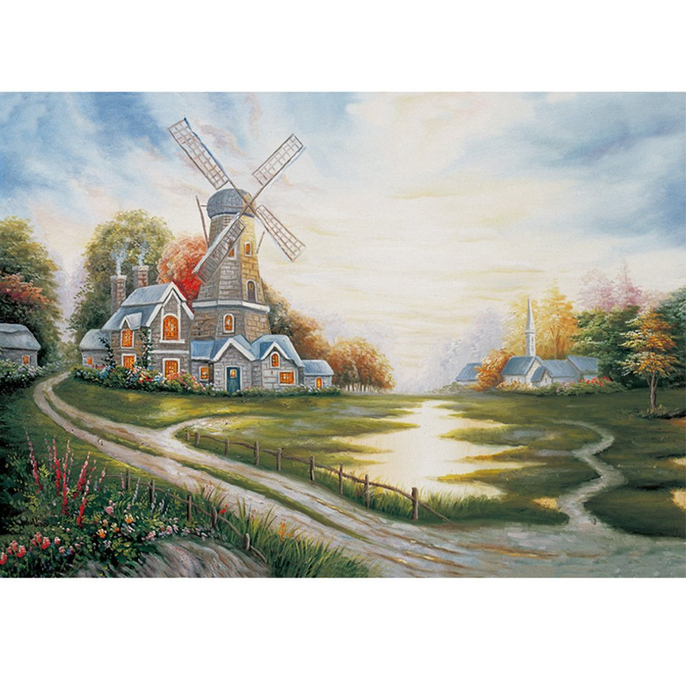 木質拼圖1000片 拼圖 《風車》 高檔拼圖 油畫 裝飾畫 風景畫