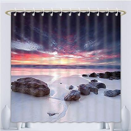 Unique Custom Shower Curtains Landscape Australian Seascape At Dawn Sunset Rocky Beach Sand Photo Art Print