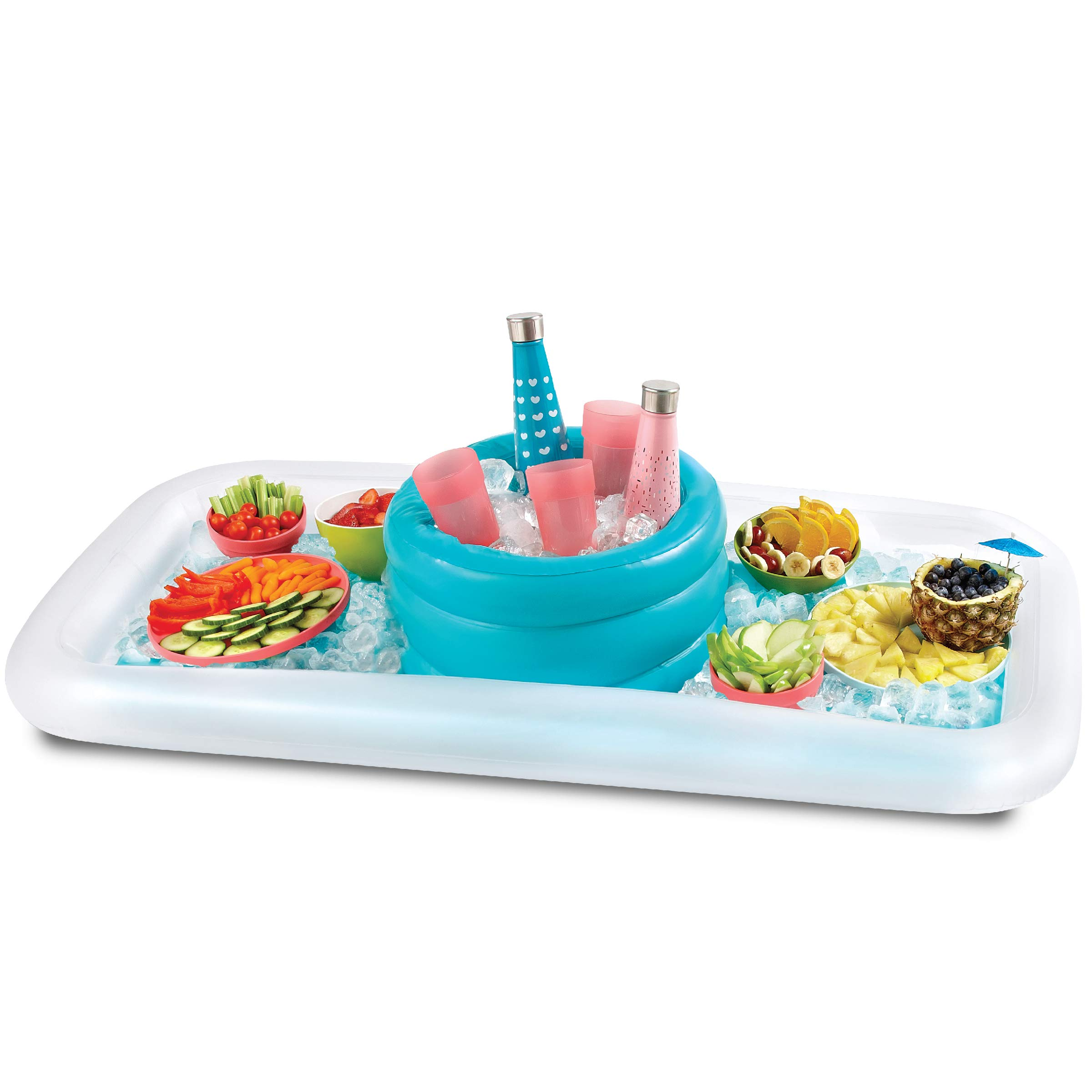 WANDERLUST Inflatable Cooler Buffet Bar Set Raft Float with Drinks Cooler for Summer Parties, Outdoor Play, Beach, Camping, Road Trips, Vacation, and More
