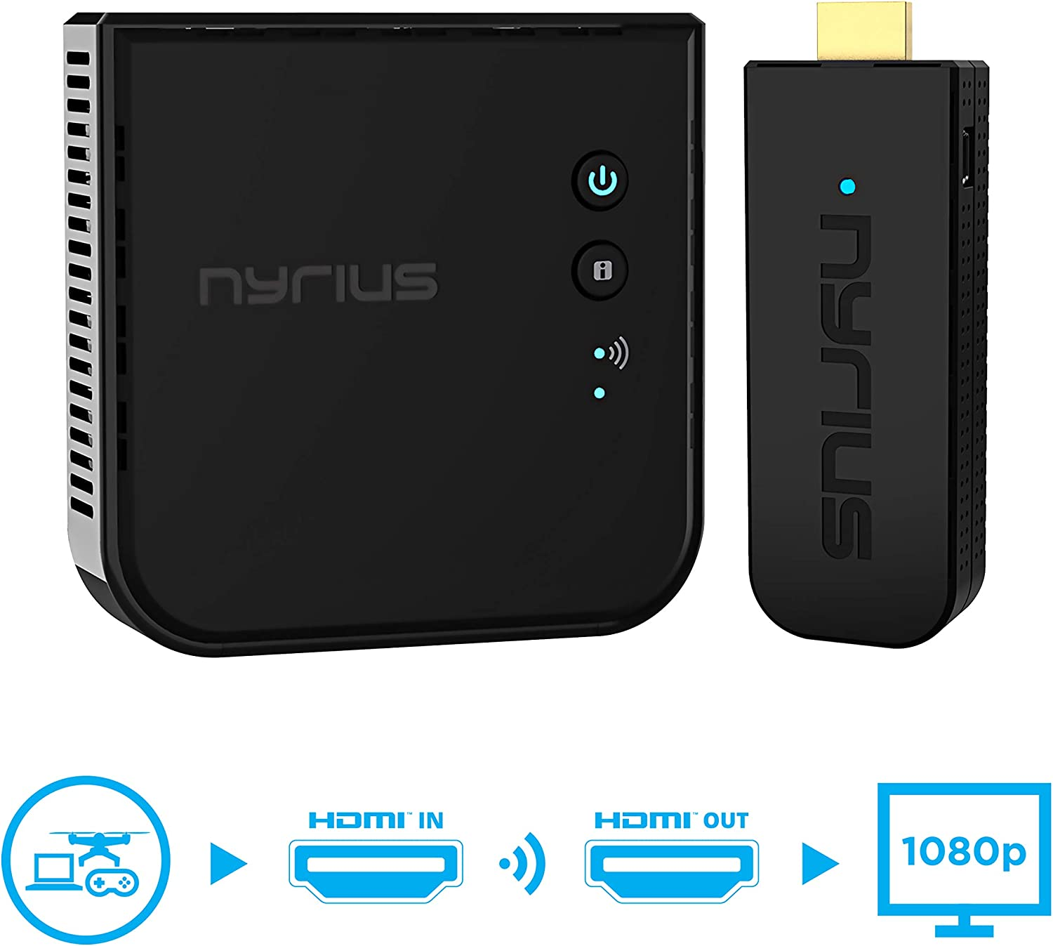 Nyrius Aries Pro+ Wireless HDMI Video Transmitter & Receiver to Stream 1080p Video up to 165ft from Laptop, PC, Cable Box, Game Console, DSLR Camera to a TV, Projector or Boardroom Screen (NPCS650)