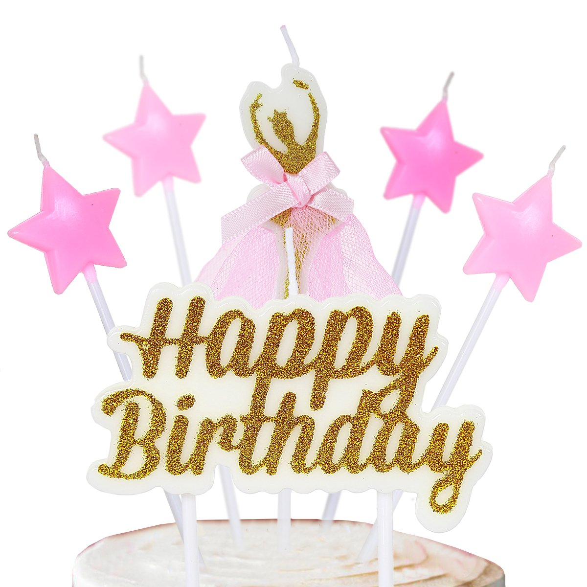 PinkBlume Gold and Pink Happy Birthday Candle,Ballerina Star Cake Toppers Girls Party Decorations.