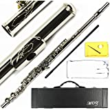 Engraved Design Italian Pads 16 Keys Open Hole Silver Plated Flute