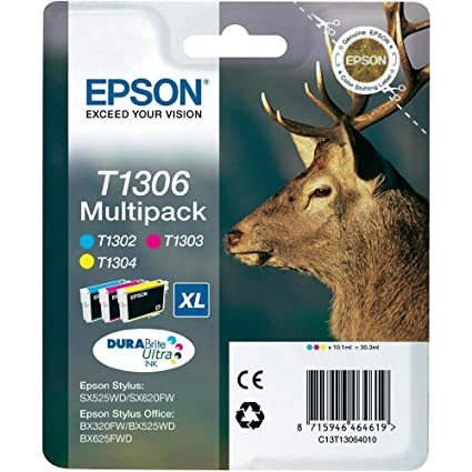 Epson Multipack T1306 3 colores - Cartucho de tinta para impresoras (Cian, Magenta, Amarillo, 30,3 ml, Stylus Office BX625FWD, Stylus SX525WD, Stylus ...