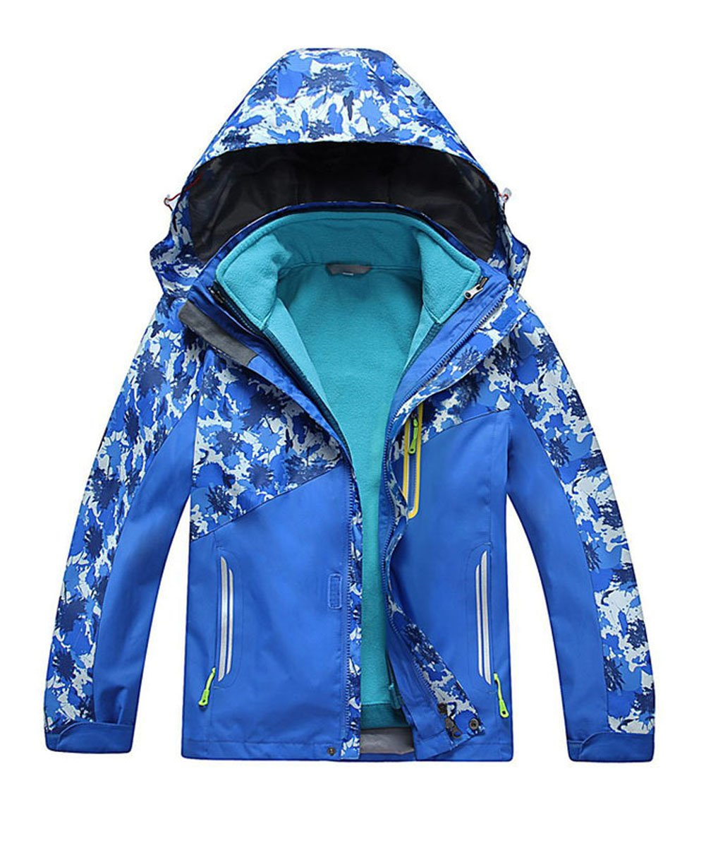 M2C Boys Hooded 3 in 1 Waterproof Fleece Mountain Jacket 5/6 Royal Blue