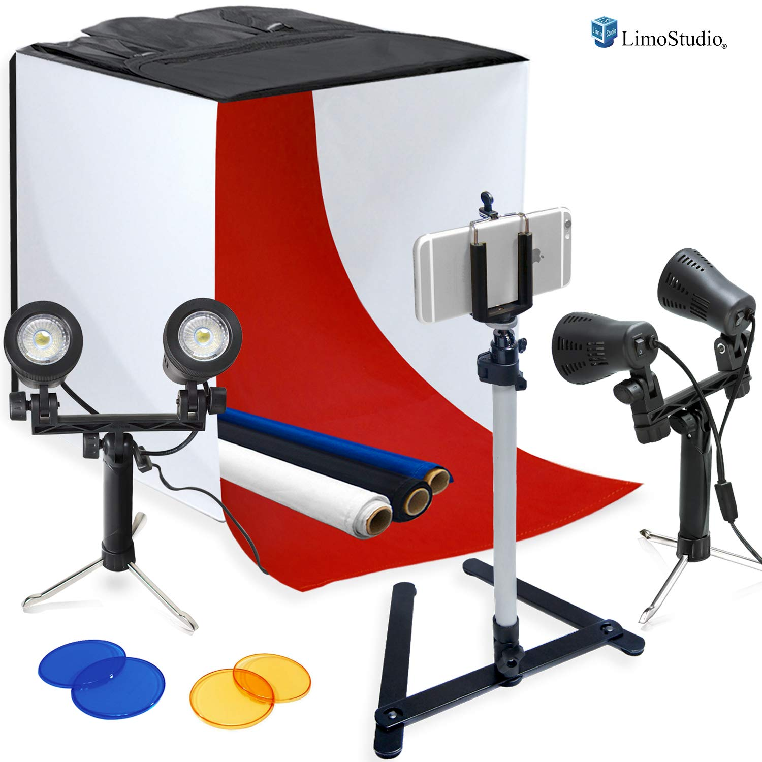 LimoStudio Photography Table Top Photo Light Tent Kit, 24'' Photo Light Box, Continous Lighting Kit, Camera Tripod & Cell Phone Holder AGG1069