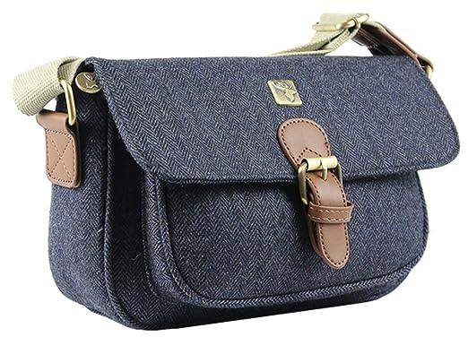 53022189049d Ladies Small Tweed Satchel Shoulder Bag In Assorted Colours (Royal Blue  Herringbone)