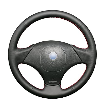 Amazon.com: MEWANT Black Genuine Leather Car Steering Wheel Cover for Fiat Albea 2002 Palio Weekend 2002: Automotive