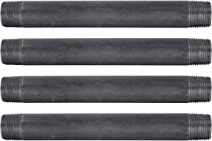 """Pipe Decor 3/4"""" x 8"""" Malleable Cast Iron Pipe, Pre Cut, Industrial Steel Grey Fits Standard Three Quarter Inch Black Threaded Pipes Nipples and Fittings, Build Vintage DIY Furniture, 4 Pack"""