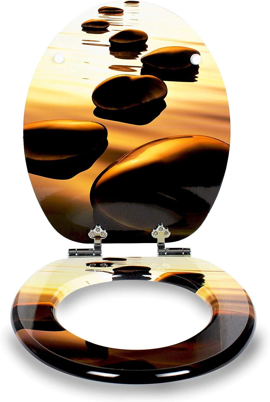 hochwertige Qualit/ät und viele bunte Motive Holzkern WC Sitz mit Absenkautomatik von Sanfino einfache Montage inklusive Montageanleitung W1029C Take It Easy bequemer Sitzkomfort