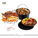 Deep Fryers Universal Air Fryer Accessories Including Cake Barrel,Baking Dish Pan,Grill,Pot Pad, Pot Rack with Silicone Mat by Bellagione (5 Pcs)