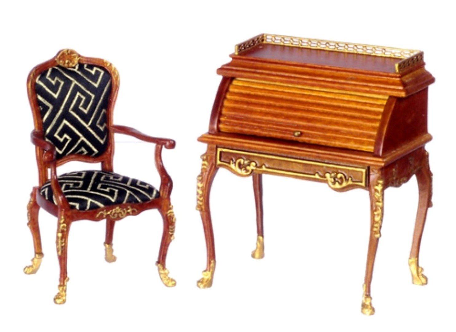 Platinum Collection Dollhouse Miniature desk Walnut #P6265 by Platinum Collection