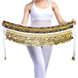 YouPue Tribal Ceinture de Danse Orientale Belly Dance danse du ventre Foulard Costume Professionnel pour Femmes décoré de pièces dorées