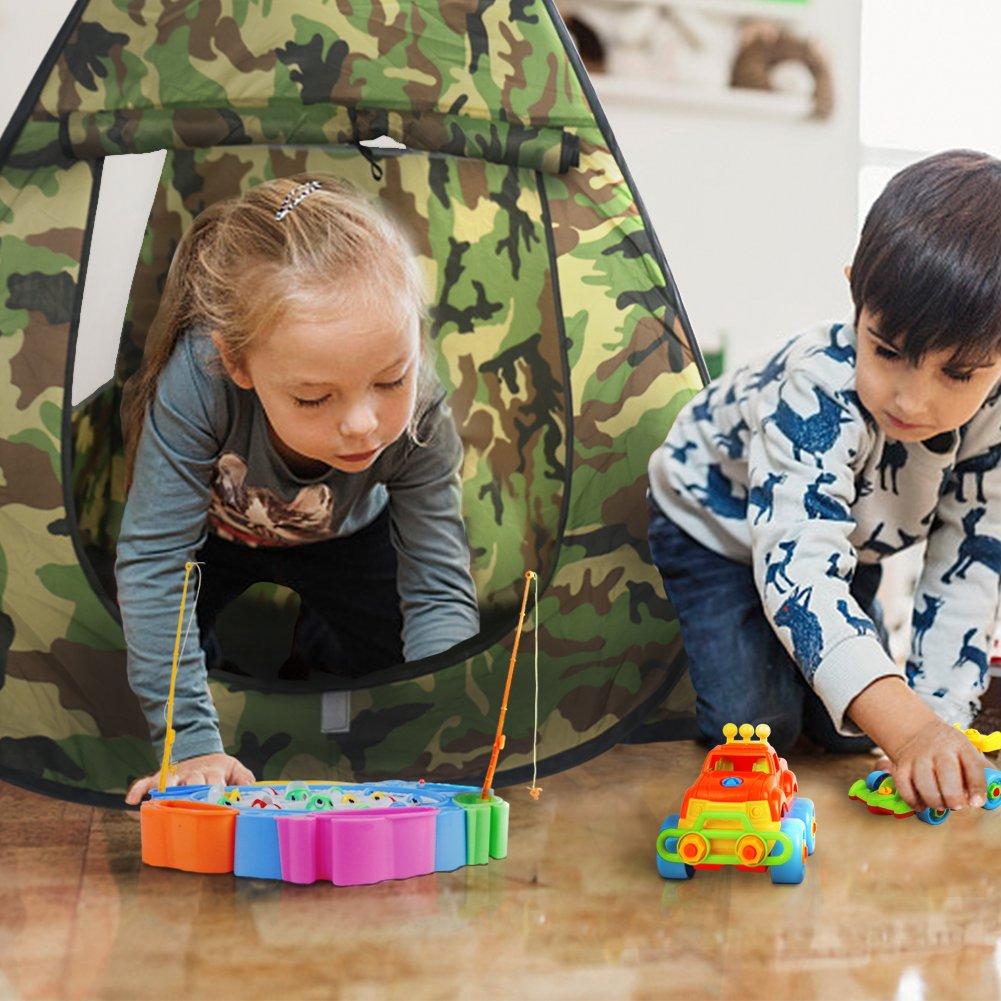 Nuheby Kids Tent Play Tent for Kids Garden Toys Foldable Playhouse Tent Girls with Cool Camouflage Pattern Design Outdoor toys Boy Tent for 3 4 5 Years Old