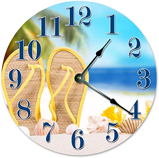 Sugar Vine Art Sandals in The Sand Unique Clock Large 10.5 Wall Clock Decorative Round Wall Clock Home Decor FLIP Flops ON Beach