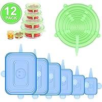 Tapas elásticas de silicona, tapas milagrosas, juego de 12 tapas de silicona sin BPA, tapas de alimentos reutilizables de silicona, tapa elástica de almacenamiento de alimentos para contenedores, cuencos, tazas, 2 colores y 6 tamaños