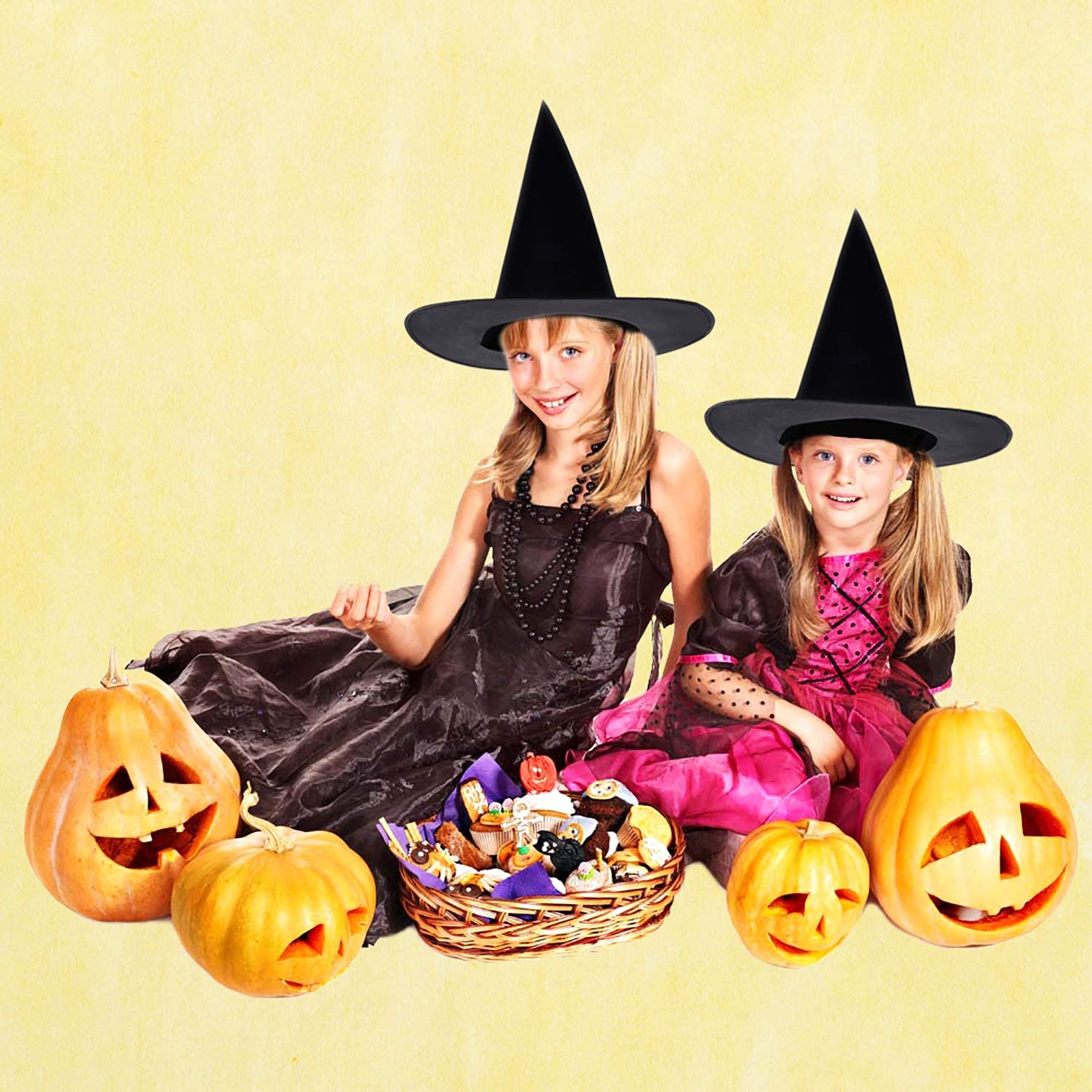 JETTINGBUY 10 Pack Witch Hats Halloween Costume Black Hats Witch Costume Accessory Halloween Women Costume for Holiday Halloween Christmas Carnivals Party