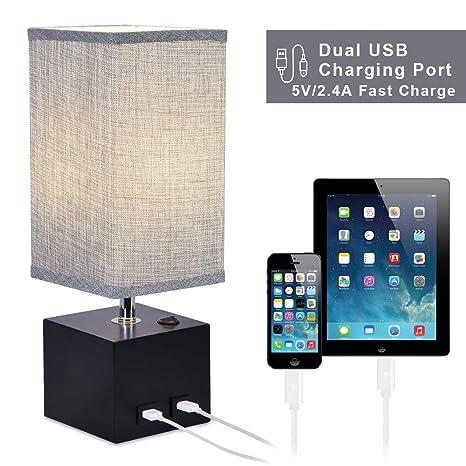 Amazon.com: N&C Lámpara de mesita de noche con 2 puertos USB ...