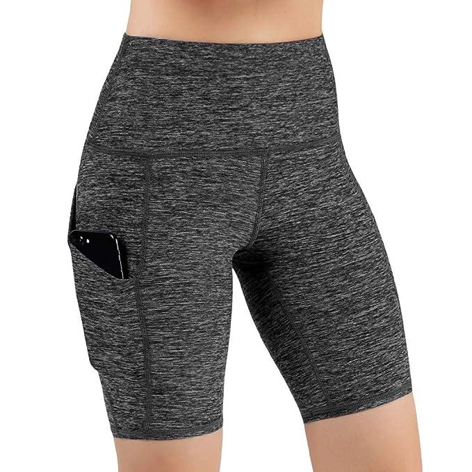 MOVERV Mujer Pantalones Cortos Deportivo de Yoga,Pantalones con Bolsillo Secado rapido Alta Cintura y Transpirables Sexy Elástico Pretina Hacer ...