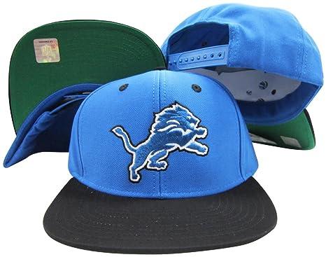 5299a6ec778 Image Unavailable. Image not available for. Color  Reebok Detroit Lions  Blue Black Two Tone Snapback Adjustable Plastic Snap Back Hat Cap