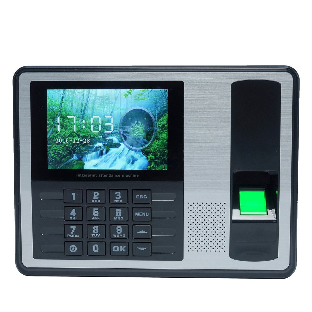 Aibecy Biometric Fingerprint Password Attendance Machine Employee Checking-in Recorder 4 inch TFT LCD Screen DC 5V Time Attendance Clock