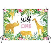Mehofoto Pink and Gold Safari Wild One Backdrop Wild One Birthday Photo Background for Girls 7x5ft Jungle Animals Tropical Leaves Backdrops for Birthday Cake Table Decorations