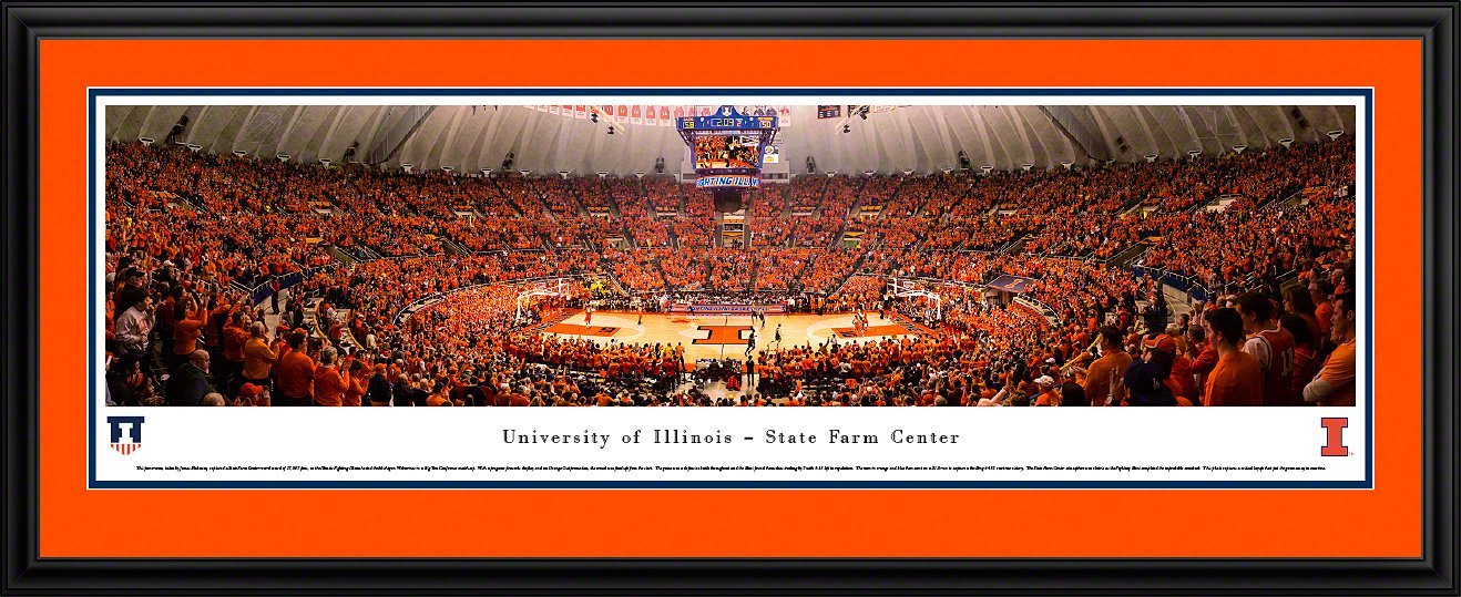 Illinois Basketball - Blakeway Panoramas College Sports Posters with Deluxe Frame, 18'' x 44''